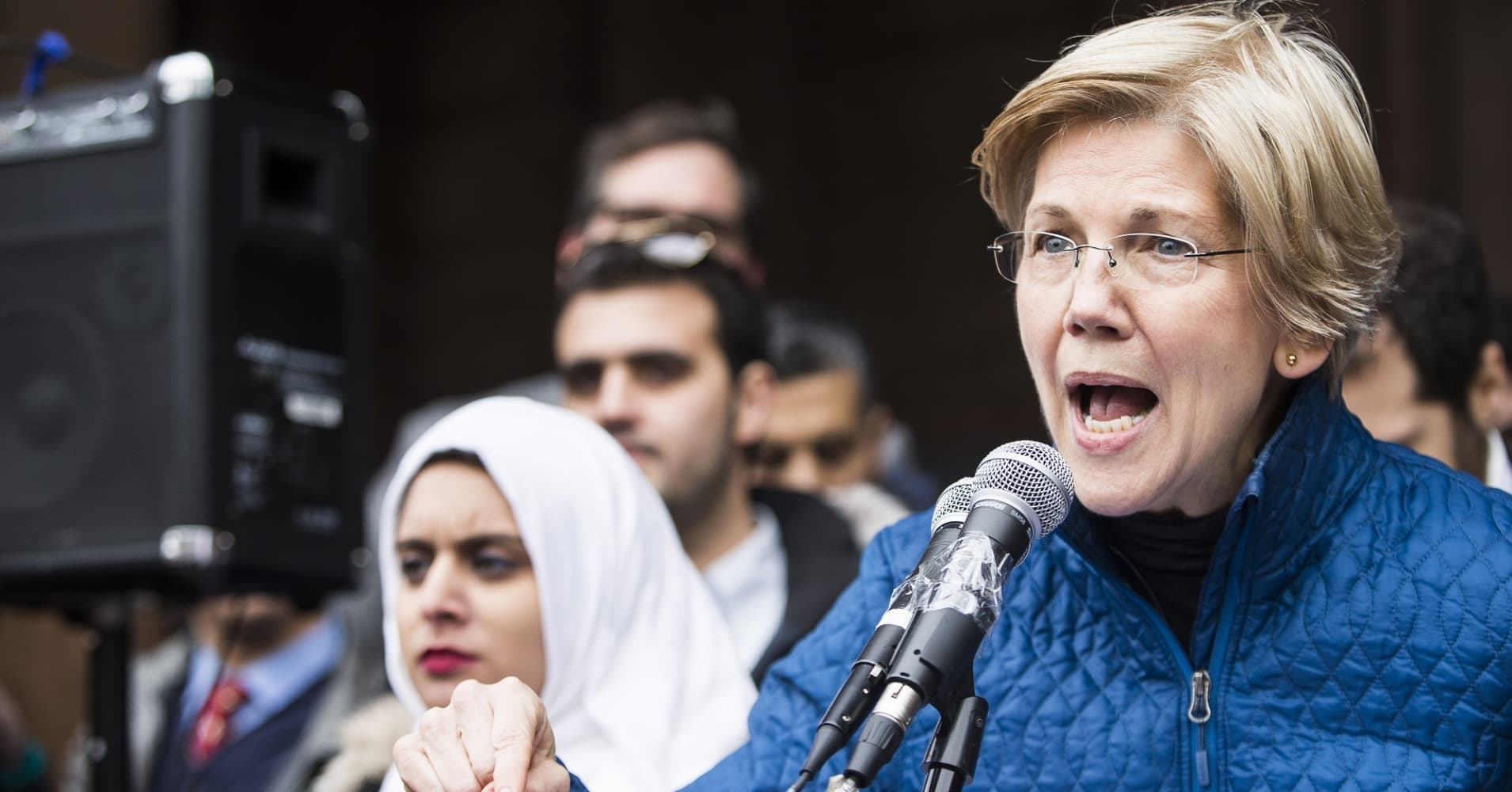 Senator Elizabeth Warren speaks during a protest in Copley Square in Boston on Jan. 29, 2017. Thousands gathered to protest President Donald Trump's executive order banning people from several predominantly Muslim countries from entering the country.