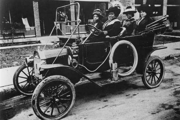 Sarah Breedlove,known as Madam C.J. Walker, pictured driving a car.