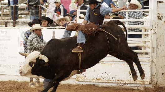 The bull riding event at a rodeo in Arizona,
