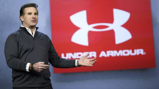 Kevin Plank, founder and chief executive officer of Under Armour Inc., speaks during the 2017 Consumer Electronics Show (CES) in Las Vegas, Nevada, U.S., on Friday, Jan. 6, 2017.