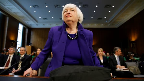 """Federal Reserve Chair Janet Yellen prepares to speak before a Senate Banking, Housing, and Urban Affairs Committee hearing on the """"Semiannual Monetary Policy Report to the Congress"""" on Capitol Hill in Washington, U.S., February 14, 2017."""