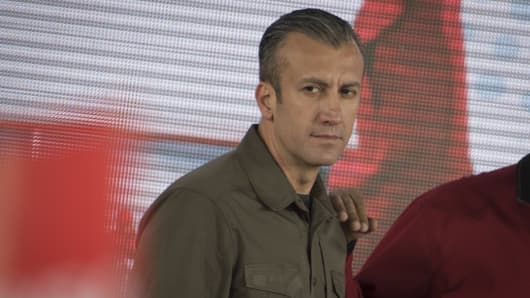 Tareck El Aissami, vice president of Venezuela, attends a swearing in ceremony for the new board of directors of Petroleos de Venezuela SA (PDVSA), Venezuela's state oil company, in Caracas, Venezuela, on Tuesday, Jan. 31, 2017.