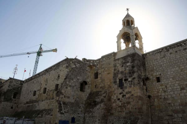 The Church of the Nativity is seen during its restoration in Bethlehem, West Bank on November 28, 2016.