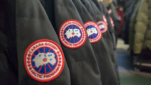 Canada Goose brand parkas in a store in New York.