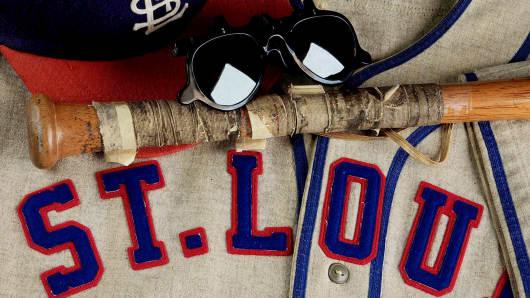 Cool Papa Bell's St. Louis Stars jersey, bat, cap and sunglasses.