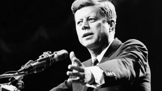 John F. Kennedy making a speech in 1962