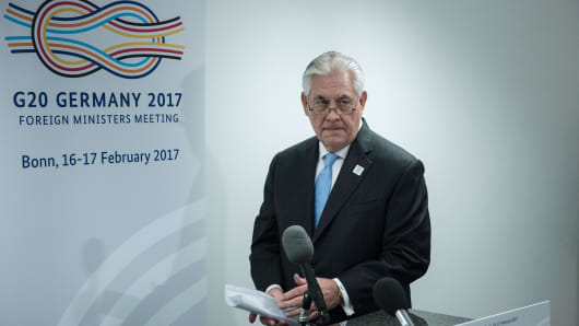 Secretary of State Rex Tillerson arrives to make a statement about a meeting with Russia's Foreign Minister at the World Conference Center February 16, 2017 in Bonn, western Germany.