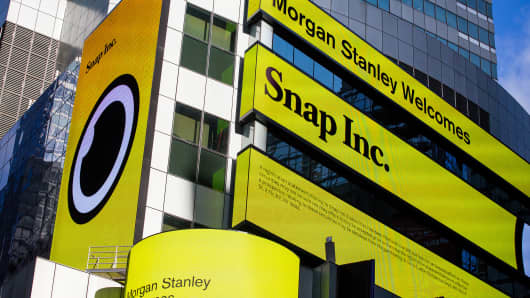Snap Inc. signage is displayed on screens outside of the Morgan Stanley building in New York, U.S., on Thursday, Feb. 16, 2017.