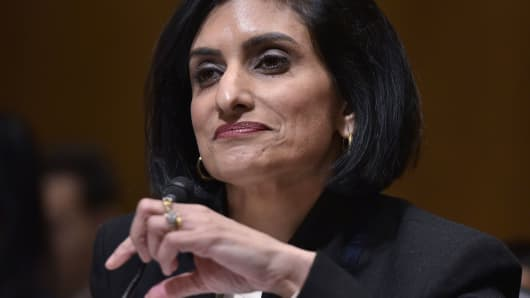 Seema Verma testifies before the Senate Finance Committee on her nomination to be the administrator of the Centers for Medicare and Medicaid Services, in the Dirksen Senate Office Building in Washington, on February 16, 2017.