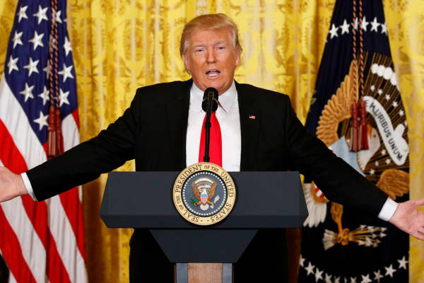 President Donald Trump speaks during a news conference at the White House in Washington, February 16, 2017.