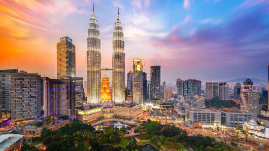 Petronas Towers, also known as Menara Petronas in Kuala Lumpur, Malaysia.