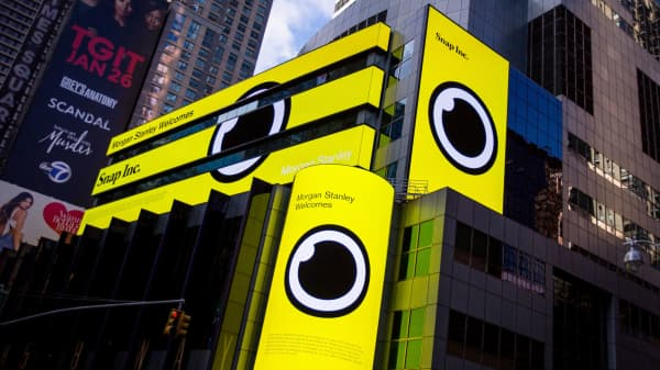 Snap Inc. signage is displayed on screens outside of the Morgan Stanley building in New York, on Thursday, Feb. 16, 2017.