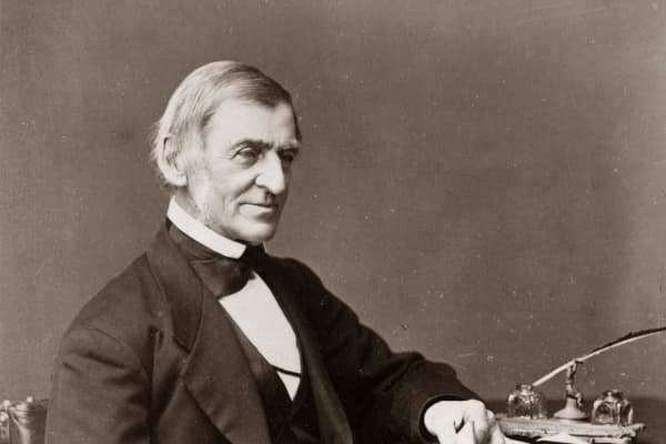 American essayist Ralph Waldo Emerson (1803 - 1882) who was among the leaders of the transcendental movement in Boston.