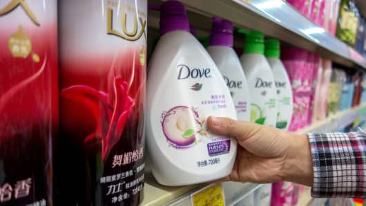 Unilever's Dove bath foam in a Beijing supermarket.