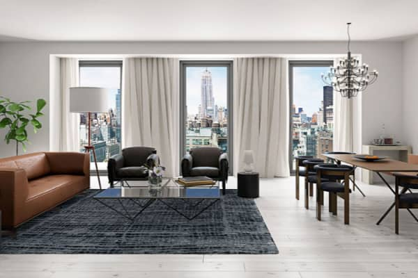 A room at 55 West 17th Street in New York.
