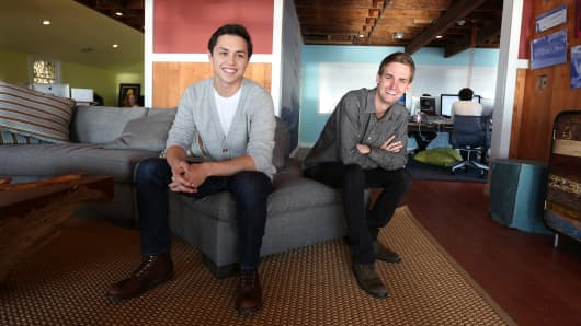 Evan Spiegel and Bobby Murphy, developers of Snapchat.