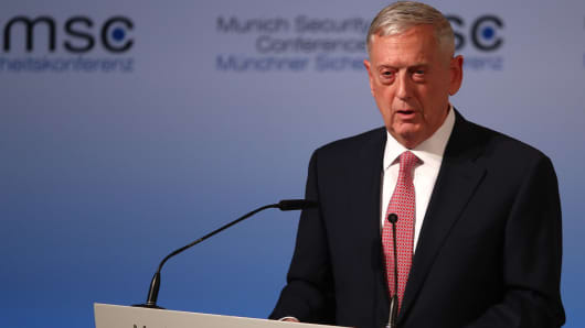 U.S. Defense Secretary Jim Mattis speaks at the opening of the 53rd Munich Security Conference in Munich, Germany, February 17, 2017.