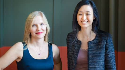 (Left) Pymetrics co-founders Frida Polli, CEO, and Julie Yoo, chief data scientist