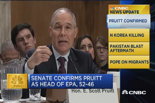 CNBC update: Pruitt confirmed