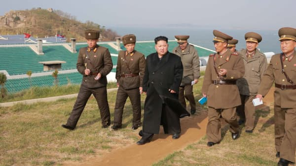 North Korean leader Kim Jung Un inspects Galido outpost and Jangjedo defending force located in the far south of Southwest sea in North Korea.