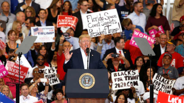 "U.S. President Donald Trump speaks during his ""Make America Great Again"" rally at Orlando Melbourne International Airport in Melbourne, Florida on February 18, 2017."