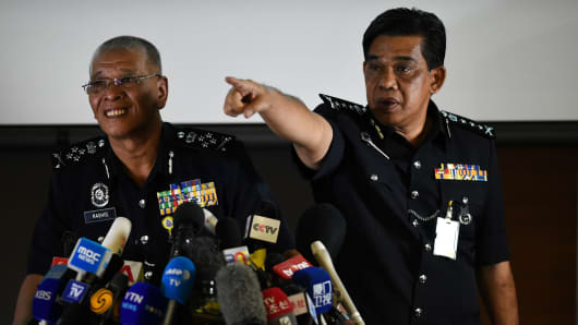 Malaysian police at a press conference on February 19, 2017, following the assassination of Kim Jong-Nam, the half brother of North Korean leader Kim Jong-Un.