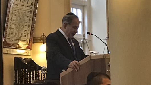 Israel Prime Minister Benjamin Netanyahu speaking at the Maghain Aboth Synagogue in Singapore on February 20, 2017.