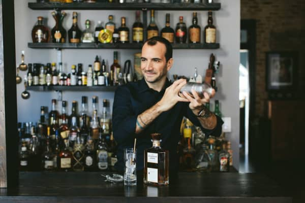 Mixologist Charles Joly making a Hilhaven Lodge cocktail