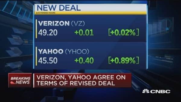 Verizon, Yahoo agree on revised deal