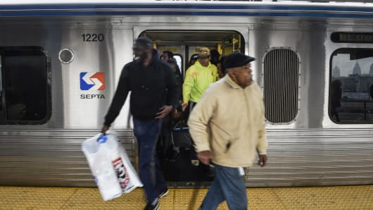 A file photo showing commuters exiting a Southeastern Pennsylvania Transportation Authority (SEPTA) subway car on the Market-Frankford line in Philadelphia, Pennsylvania.