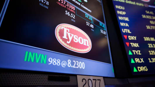 Tyson Foods signage is displayed on the floor of the New York Stock Exchange on Monday, Nov. 21, 2016.