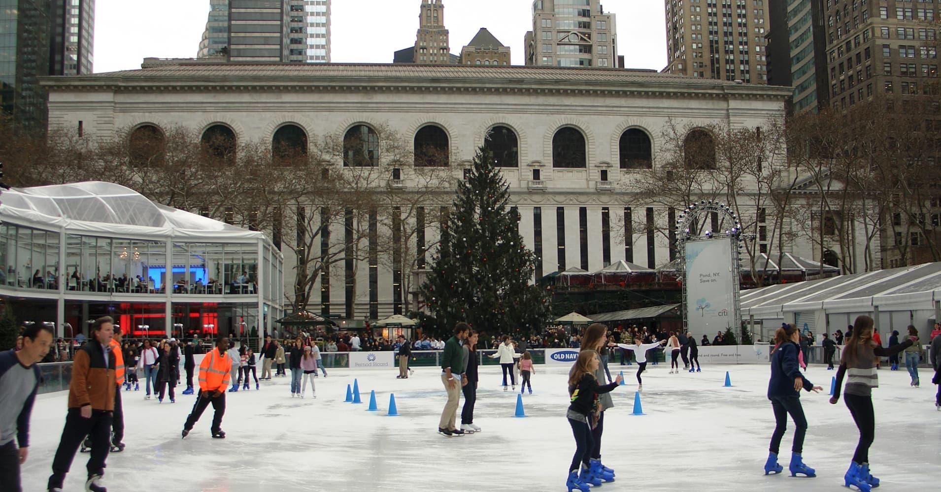 If you bring your own skates, ice skating at Bryant Park is completely free