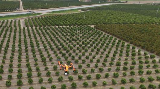 A DJI drone mapping farmland