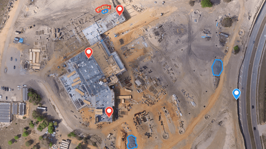 The DroneDeploy software used by Brasfield & Gorrie General Contractors to mark points on a build site