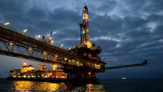 An oil platform off the coast of Angola