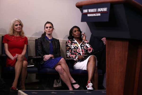 White House Counselor Kellyanne Conway; Hope Hicks, White House Director of Strategic Communications; and Omarosa Manigault, Director of Communications for the Office of Public Liaison.