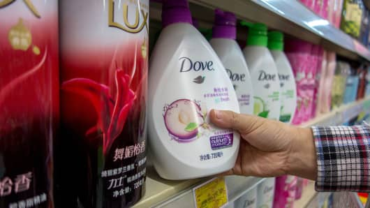 Unilever's Dove bath foam, seen in a Chinese supermarket