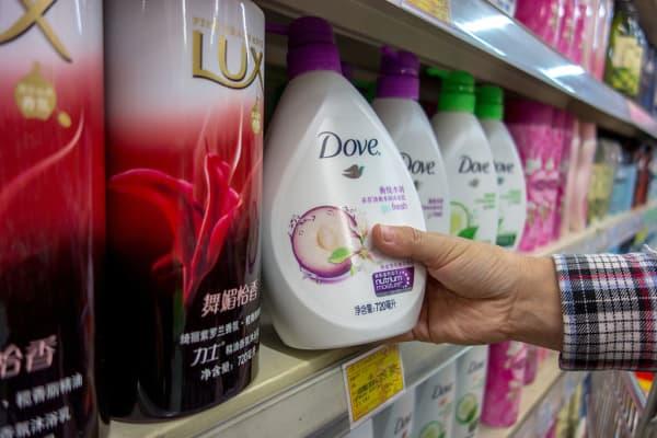 Unilever's Dove bath foam, seen in a Chinese supermarket