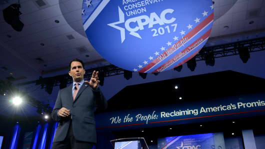 Wisconsin Governor Scott Walker speaks at the Conservative Political Action Conference (CPAC) at National Harbor, Maryland, on February 23, 2017.