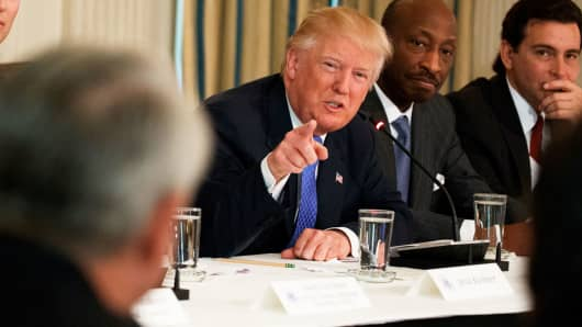 President Donald Trump speaks during a meeting with manufacturing executives in the Roosevelt Room of the White House in Washington, Thursday, Feb. 23, 2017.
