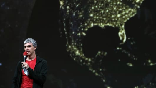 Larry Page, Google co-founder and CEO speaks during the opening keynote at the Google I/O developers conference.
