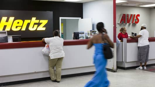 Rental car companies Hertz and Avis at Lynden Pindling International Airport on June 15, 2012 in Nassau, The Bahamas.