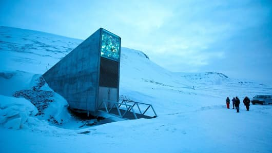 A general view of the entrance of the international gene bank Svalbard Global Seed Vault, outside Longyearbyen on Spitsbergen, Norway, on February 29, 2016.
