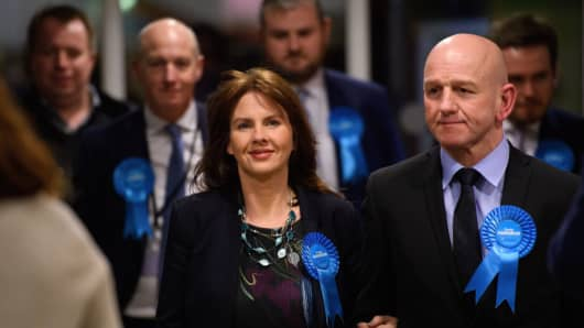 Conservative Party candidate Trudy Harrison arrives with her husband Keith ahead of the announcement of the results of the Copeland by-election on February 24, 2017 in Whitehaven, England.