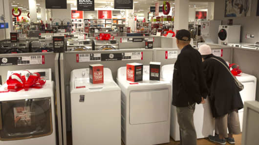 Shoppers browse appliances at the JC Penney store inside the Roosevelt Field Mall in Garden City, New York.