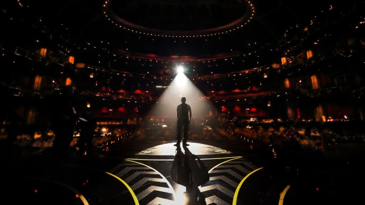A man is seen in silhouette onstage during rehearsals for the 88th Annual Academy Awards at Dolby Theatre on February 27, 2016 in Hollywood, California