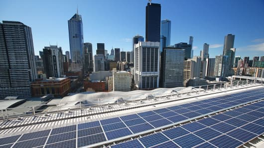 Solar panels are seen on a rooftop in Melbourne, Australia.