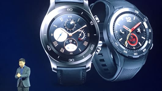 Huawei unveil its latest watch product at the MWC in Barcelona.