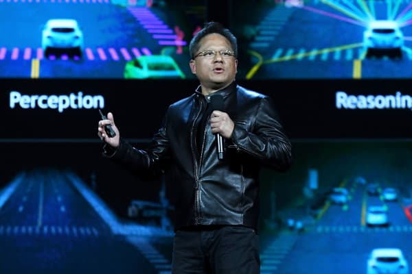 Nvidia founder, President and CEO Jen-Hsun Huang delivers a keynote address at CES 2017 at The Venetian on Jan. 4, 2017 in Las Vegas.