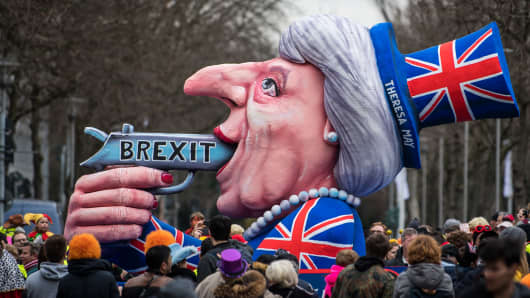 A float featuring British Premier Theresa May drives in the annual Rose Monday parade on Feb. 27, 2017 in Dusseldorf, Germany.
